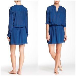 EUC Vince Shirred Shirtdress Drop-waist Dress S